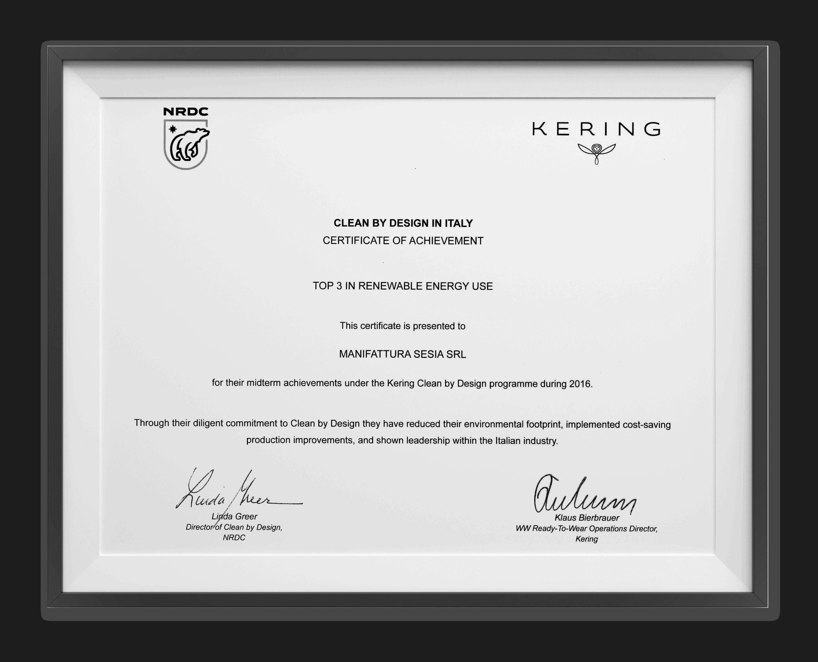 Certificato Kering